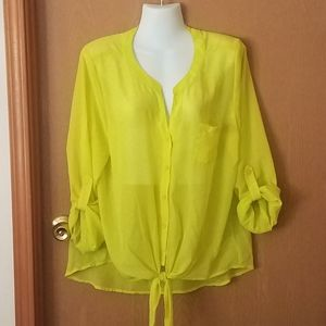 5/20 Lei Bright Yellow Front Tie Sheer Top